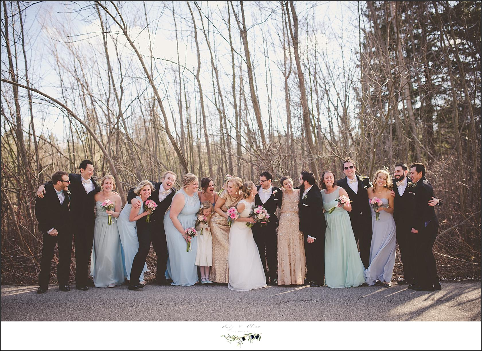 wedding party in the winter