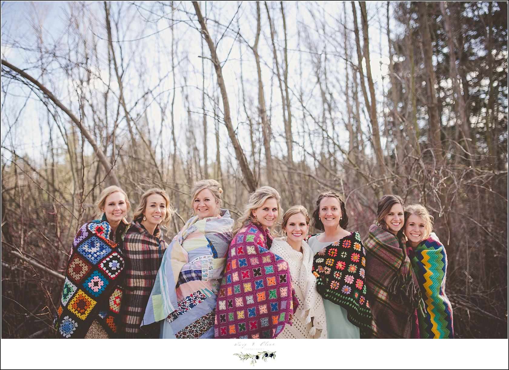 blankets with wedding party