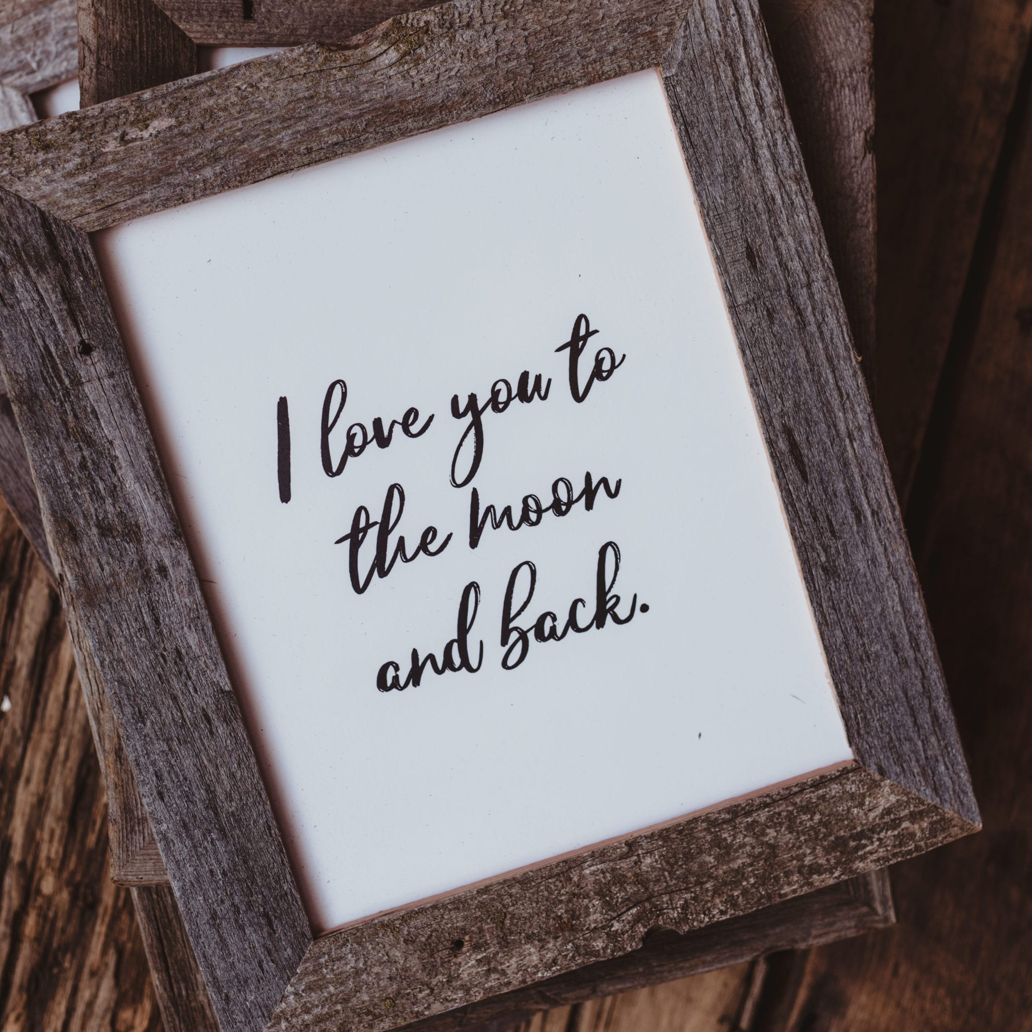 Twig & Olive PhotographyBarnwood Frame with Quote | I Love You to ...