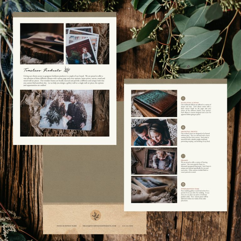 Wedding Pricing Guide Template | Rustic Botanical