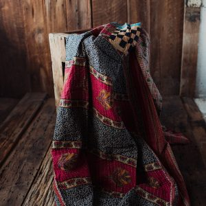 Kantha Quilt | Hand Stitched Recycled Fabric Throw | No. 4
