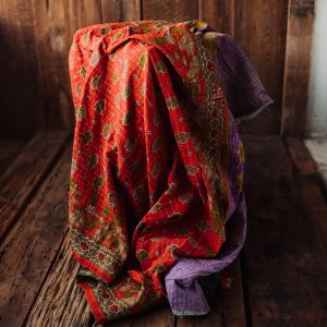 Kantha Quilt | Hand Stitched Recycled Fabric Throw | No. 33
