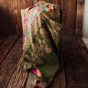 Kantha Quilt | Hand Stitched Recycled Fabric Throw | No. 35