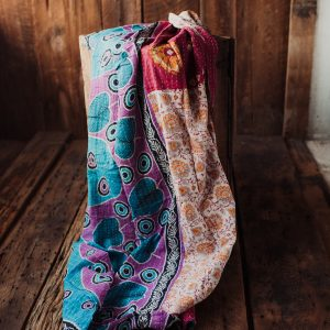 Kantha Quilt | Hand Stitched Recycled Fabric Throw | No. 38