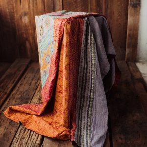 Kantha Quilt | Hand Stitched Recycled Fabric Throw | No. 41