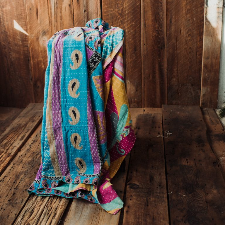 Kantha Quilt | Hand Stitched Recycled Fabric Throw | No. 136