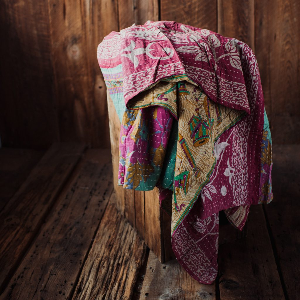 Kantha Quilt | Hand Stitched Recycled Fabric Throw | No. 179
