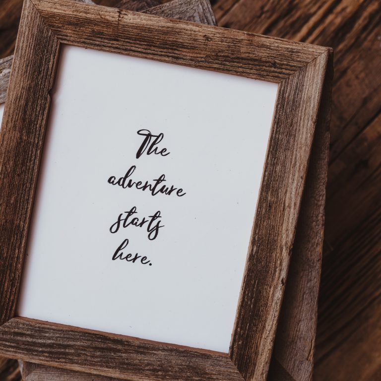 Barnwood Frame with Quote | The Adventure Starts Here